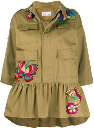 RED Valentino Embroidered Butterfly Military Jacket