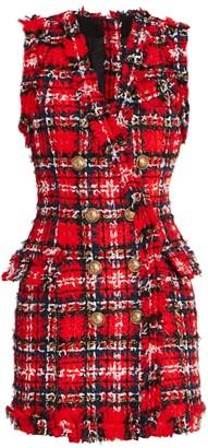 Balmain Button Tartan Tweed Dress