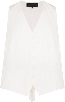 Ann Demeulemeester Short-sleeved cotton button-down waistcoat shirt