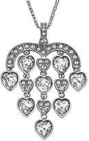 Swarovski Necklace, Rhodium-Plated Crystal Sensible Heart Chandelier Pendant Necklace
