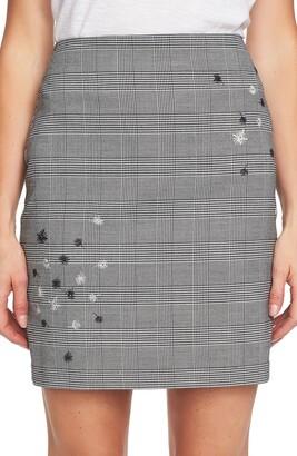 Cece By Cynthia Steffe Glen Plaid Print Embroidered Mini Skirt