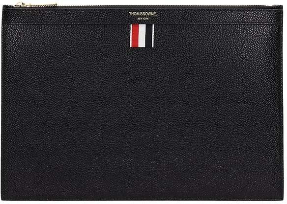 Thom Browne Black Leather Clutch Bag