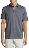 Ermenegildo Zegna Horizontal-Herringbone Short-Sleeve Polo Shirt, Blue