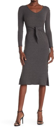 Velvet Torch Long Sleeve Tie Front Ribbed Knit Midi Dress