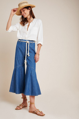 Pilcro And The Letterpress Ruffled Hem Wide-Leg Jeans