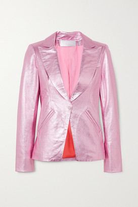 The Mighty Company The Hartland Metallic Leather Blazer - Pink
