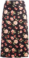 Glam Black & Pink-White Floral Waist Maxi Skirt - Plus