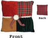 "Kurt Adler 15.5"" Square Textured Tartan Plaid Velvet Decorative Christmas Throw Pillow"