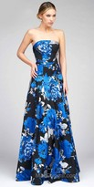 Mac Duggal Strapless Dropped Waist Floral Gown