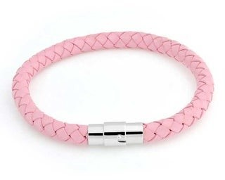 Bling Jewelry Pink Blue Woven Braided Faux Leather Bangle Bracelet Stainless Steel