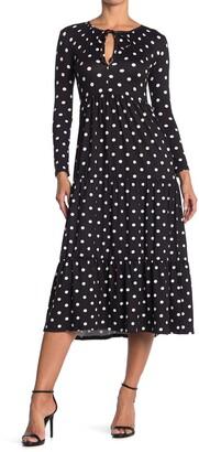 Velvet Torch Polka Dot Keyhole Long Sleeve Midi Dress