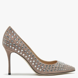 Sergio Rossi Godiva 90 Nude Suede Embellished Court Shoes