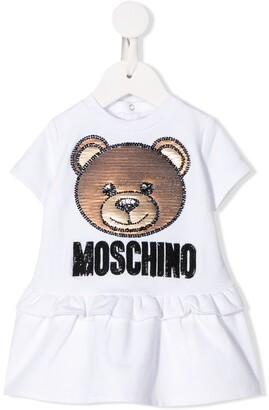 MOSCHINO BAMBINO Logo Bear Embroidered Dress