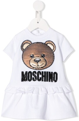Moschino Kids logo bear embroidered dress
