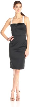 Cynthia Rowley Women's Bonded Satin Fitted Below The Knee Dress with Back Bow Detail