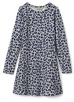 Classic Girls Plus French Terry Skater Dress-Gray Heather Leopard