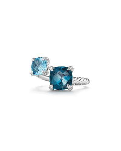 David Yurman Châtelaine Blue Topaz Sterling Silver Bypass Ring with Diamonds