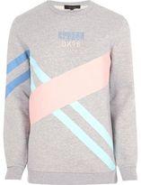 River Island Mens Grey colour blocked sweatshirt