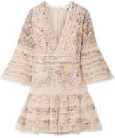 Zimmermann Lovelorn Floral-print Broderie Anglaise Cotton Mini Dress - Pastel pink