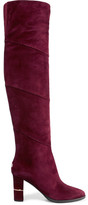 Jimmy Choo Maira Paneled Suede Over-the-knee Boots - Claret