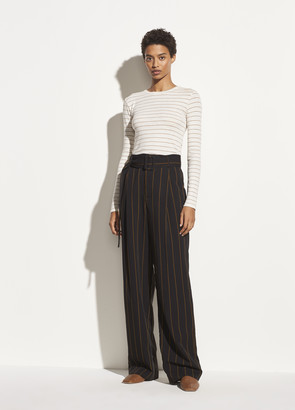 Vince Belted Striped Wide Leg Pant
