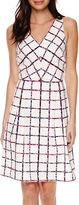 Donna Ricco Liz Claiborne Sleeveless Window Pane Print Fit-and-Flare Dress