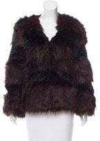 Halston Colorblock Faux Fur Jacket w/ Tags