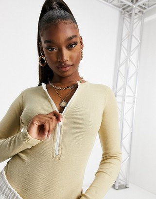 Public Desire fitted ribbed body with zip in beige