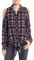 Bobeau Women's Cold Shoulder Plaid Shirt