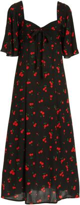 HVN Women's Long Emily Printed Crepe Midi Dress - Black - Moda Operandi