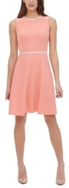Tommy Hilfiger Petite Lace-Trim Scuba Crepe Fit & Flare Dress