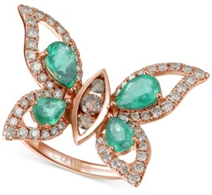 LeVian Le Vian Costa Smeralda Emerald (1-5/8 ct. t.w.) & Diamond (7/8 ct. t.w.) Butterfly Ring in 14k Rose Gold