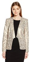 Halston Women's Long Sleeve Slim Jacket with Allover Sequin Stripe Embroidery