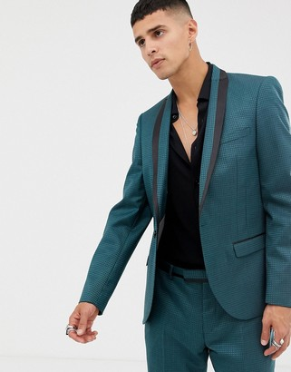 Twisted Tailor super skinny suit jacket in two tone geo-Green