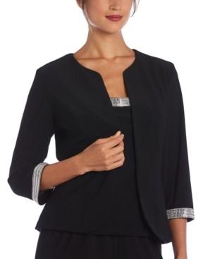 R & M Richards Plus Size 2-Pc. Embellished-Trim Top & Jacket Set