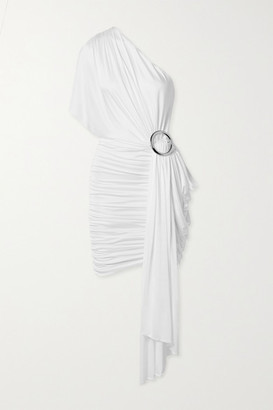 Redemption One-shoulder Draped Jersey Mini Dress - White