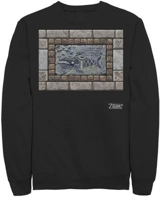 Nintendo Men's Legend Of Zelda Links Awakening Whale Stone Frame Portrait Fleece