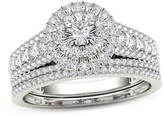 Zales 1 CT. T.W. Diamond Double Frame Multi-Row Bridal Set in 14K White Gold