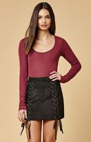 Honey Punch Faux Suede Lace-Up Mini Skirt