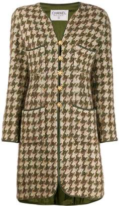 Chanel Pre-Owned 1990s houndstooth knee-length coat