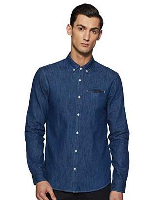 Scotch & Soda Men's Regular Fit 1 Pocket Clean Denim Shirt with Pochet Casual Shirt,Large