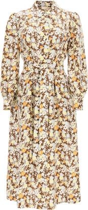 Tory Burch LONG SHIRT DRESS IN FLORAL SILK 2 Brown, White, Orange Silk