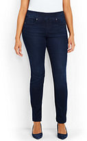 Lands' End Women's Plus Size Mid Rise Pull-on Skinny Jeans-Deep Sea Indigo
