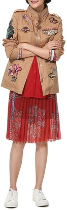 Desigual Delia Lightweight Cotton Utility Parka with Floral/Slogan Embroidery