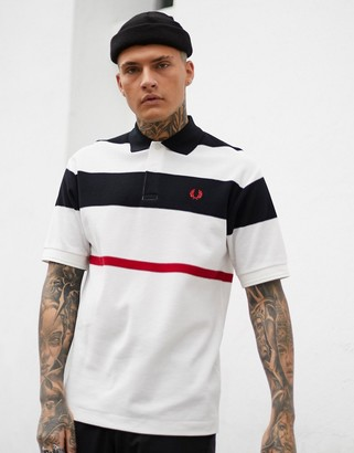 Fred Perry mesh stripe polo shirt in white
