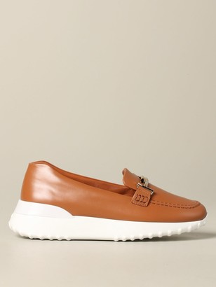 Tod's Tods Loafers Tods Moccasin In Leather With Running Bottom And Double T