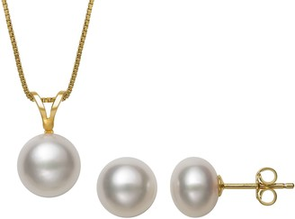 14K Gold over Silver Freshwater Pearl Earring & Pendant Necklace Set