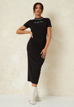 Missguided Black Crew Neck Midaxi Dress