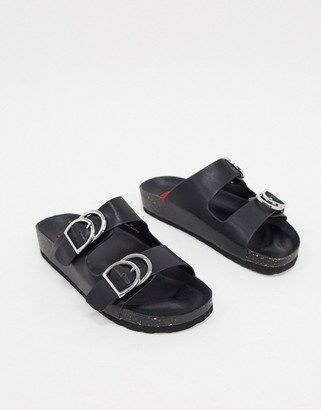 London Rebel double buckle footbed sandal in black