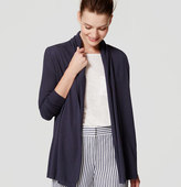 LOFT Petite Ribbed Sleeve Open Cardigan